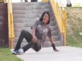 Skateboarding Stair Jump To Head Smack