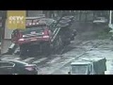 Sinkhole Splits Truck Into Two