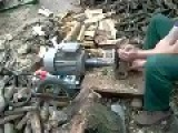 Splitting Wood With An Electric Motor, Awesome Invention