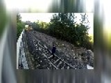 Shocking Moment A Teen Lies Down In Front Of A Moving Train