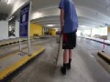 Skateboard Kid Falls In Parking Garage