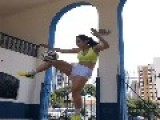 Soccer Girl Does Juggling Freestyle