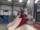 Scooter Dad Fails At Dropping In On Quarter Pipe