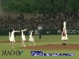 Sadako Zombie Throws Out First Pitch