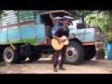 Streetmusician Sings And Play All Instruments In Time