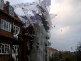 Six Storey Scaffolding Collapses During Storm In Denmark