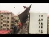 Strong Wind Blows Roofs Off Buildings, Destroying Parked Cars