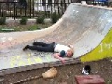 Skateboarder Pretends To Witch On Halfpipe