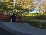Skateboard Dad Falls Dropping In On Half Pipe