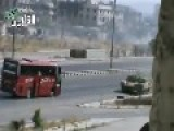 Syrian Tank Protecting Civilian Bus Under Fire