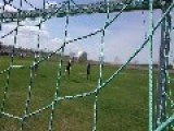 Soccer Ball Hits Camera Behind Net