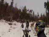 Snowmobilers VS Moose. Near Ass Whooping And Warning Shots