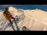 Snowboarder Triggers Avalanche And Gets Lucky