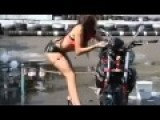 Sexy Girl Washing A Motorcycle Then It Falls On Her Lol