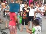 Sisters Perform Knife Magic On Street