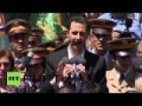 Syrian President Meets Crowd At School