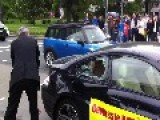 Two Men Wreck A BMW M6 - Protest In Front Of IAA Frankfurt 2013