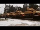 The Train With Tanks Of Army Of The USA Passed Across Latvia