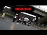 Two Bikers Crash 3rd One Was Lucky