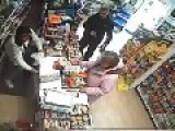 Thief Pulls Little Knife Against Store Clerks Samurai Sword