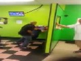 Two Light Skinned Black People Fighting In Barber Shop