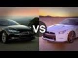 Tesla Model S Vs Nissan GTR 2014 Drag Race