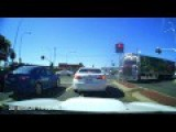 Truck Buggers Up A Wide Turn And Encounters The Worlds Strongest Traffic Light