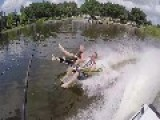 Tandem Barefoot Waterskiers Wipe Out