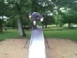 Teen Tries To Slide Standing Up
