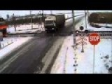 Tragic Scene Where Black Ice Causes Trucker To Get Hit By Two Different Trains