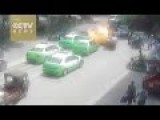 Taxi Suddenly Explodes Injuring 3