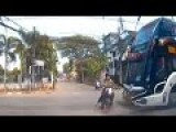 Tour Bus Hits Scooter In Thailand