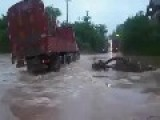 Truck Crosses Flooded River FAIL