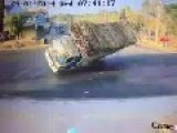 Truck Turned Upside Down In Curve