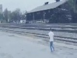 The Stupid Train Challenge .. Another Young Man Defies The Train