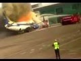 Terrifying Moment Plane Bursts Into Flames As Oxygen Tank Explodes Seconds After Passengers Get Off
