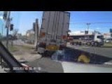 Truck Can't Make The Turn Crashes Into Pole, Tire Explodes