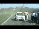 Taxi Getting Knocked Off The Highway In Brazil