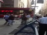 Two Guys Fight With Crutches On The Street
