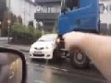 Truck Pushes Small Car ☠ Spectacular Crash In Dortmund Germany