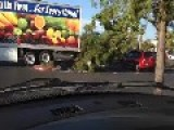 Truck Driver On An 18 Wheeler Backs In A TREE Which Falls Into A Truck = And Drives Away As If