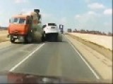 Truck Takes Out Car In Intense Head On Collision