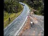 Trucks Fail To Negotiate Dangerous Bend In Road - Brazil