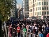 Thousands Of Praying Muslims Blocking Street In The Center Of The Russian Capital