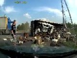 Truck Almost Crushes Car When Rolling Over