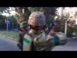 Ukrainian Government Soldiers Shooting Civilian Building For Fun