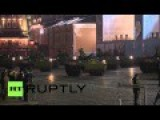 Uncovered Armata Tanks And Other Vehicles On Red Square