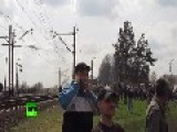Ukrainian MiG Does A Low Pass Over East Ukrainians