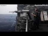 USS ANTIETAM Guided Missile CRUISER'S 25MM GUN Live Fire Exercise !