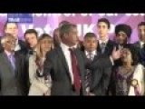 UKIP Nigel Farage With Black And Asian Ukip Supporters At Rally
